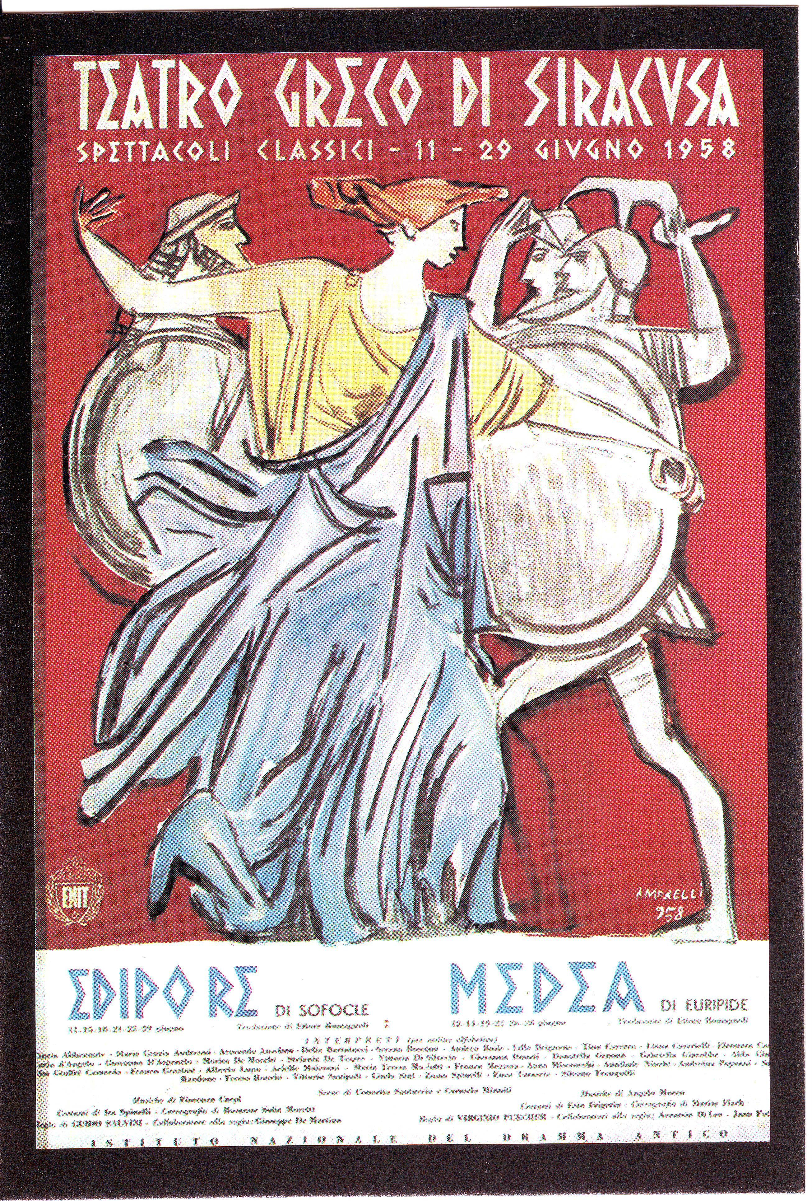 Greek Theater Siracusa Sicilia Poster On Edipo Re And Medea 1958