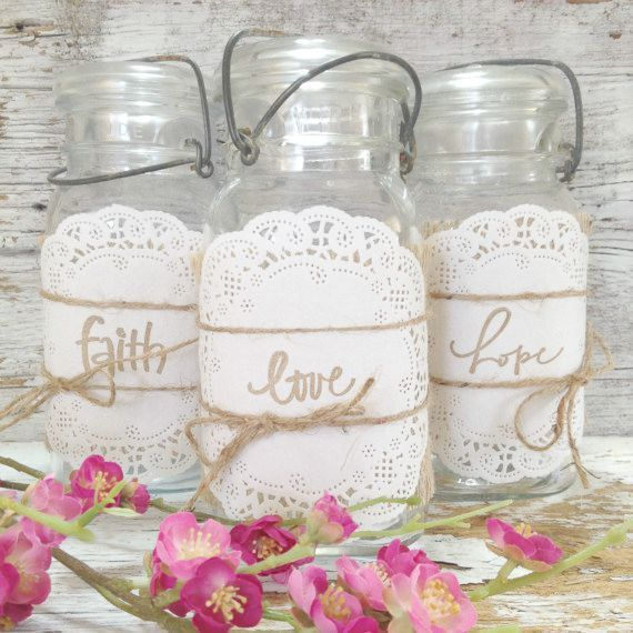 Vintage Wedding Ideas Mason Jars: Burlap Mason Jar Wraps For 3 Jars DIY By
