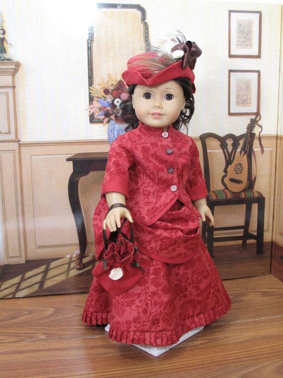 1870's bustle dress ensemble  doll clothes american girl