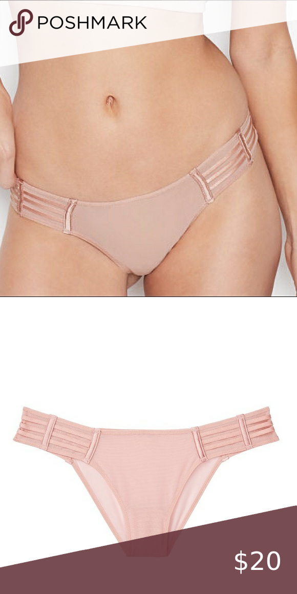 VS luxe lingerie mesh cheekini panty NEW size medium grey