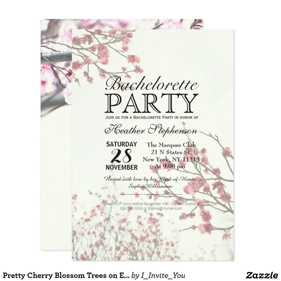pretty cherry blossom trees on elegant white invitation