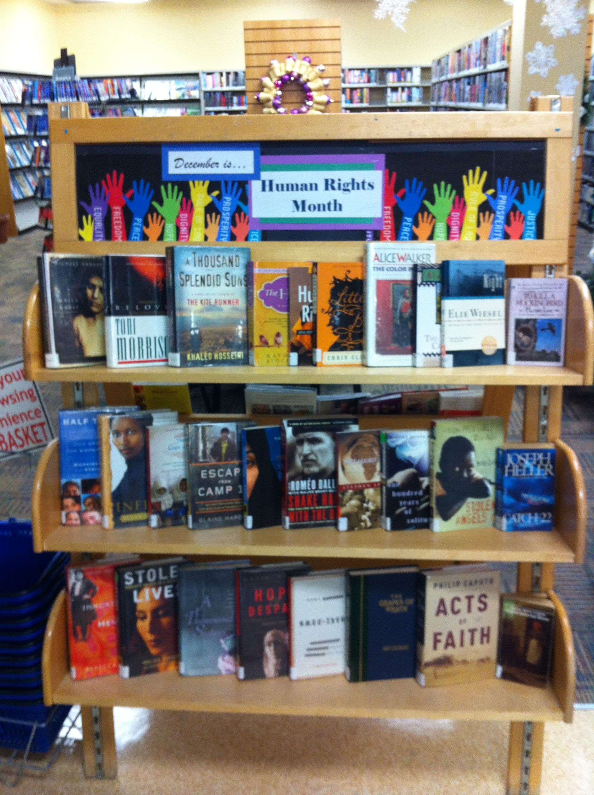 Books For Human Rights Month Library Displays Library Activities Book Display