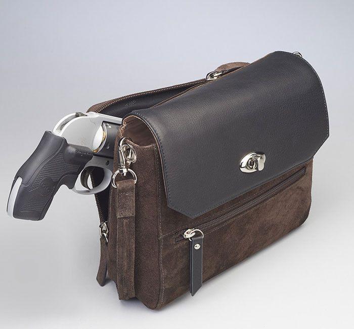 GTM-87 Suede Clutch Cowhide Flap Brown