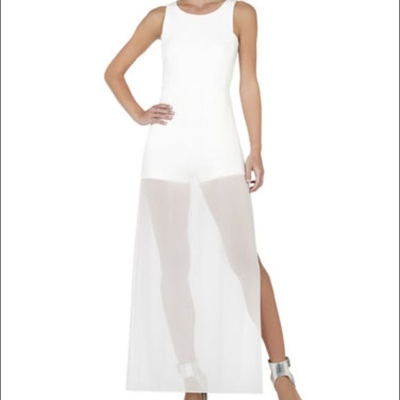 ab23d441e37 Bcbg Kenzie Sleeveless Skirted Romper Gorgeous white romper with chiffon  sheer overlay with a round neckline. Worn one time