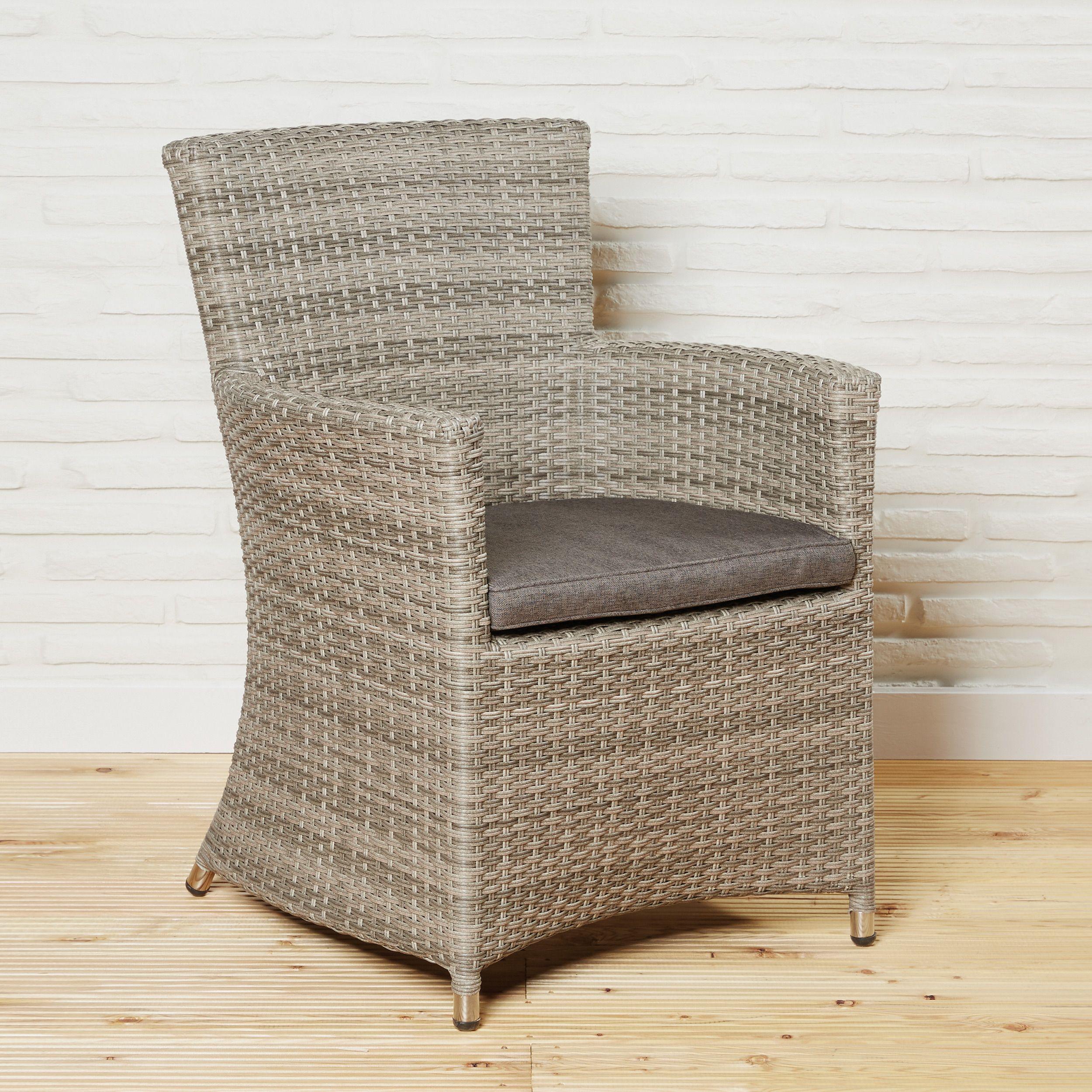machen sie es sich bequem.. polyrattan gartenstuhl mit sitzkissen ... - Outdoor Sessel Polyrattan