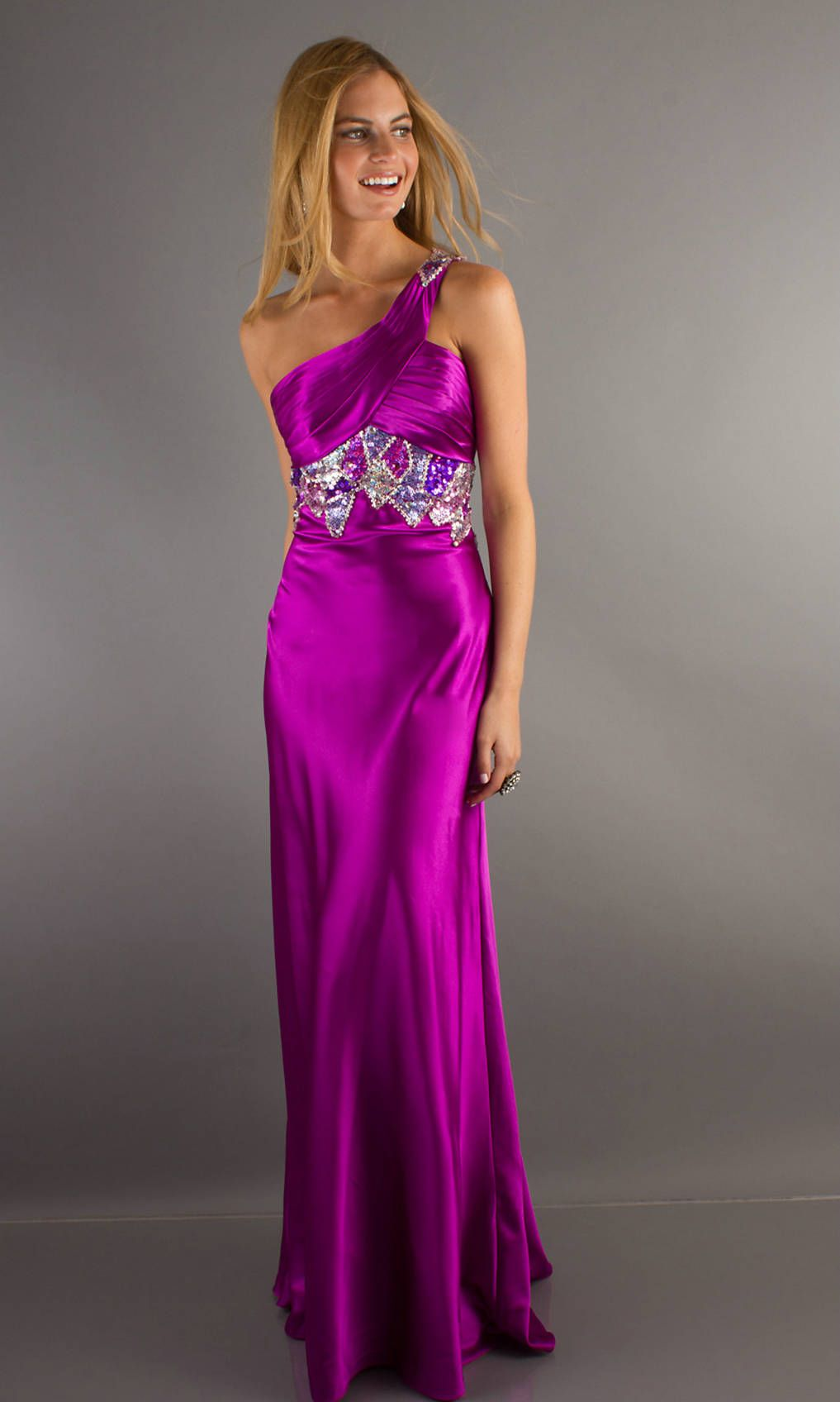 Beaded accents open back long one shoulder strap