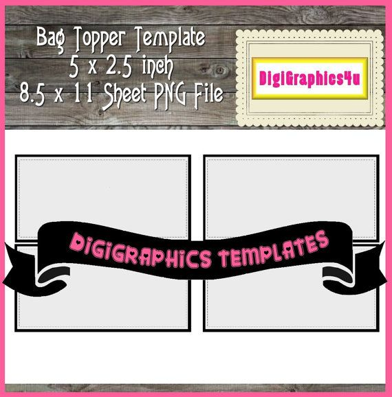 Bag Topper Template 5 x 25 inch Printable Instant Download PNG - line sheet template download