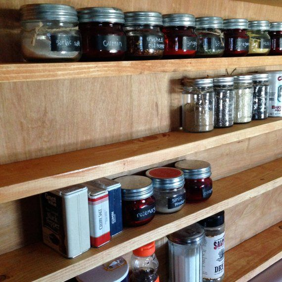 Woodworking Plans For Kitchen Spice Rack: Large Rustic Spice Rack Cherry Kitchen Supplies Home