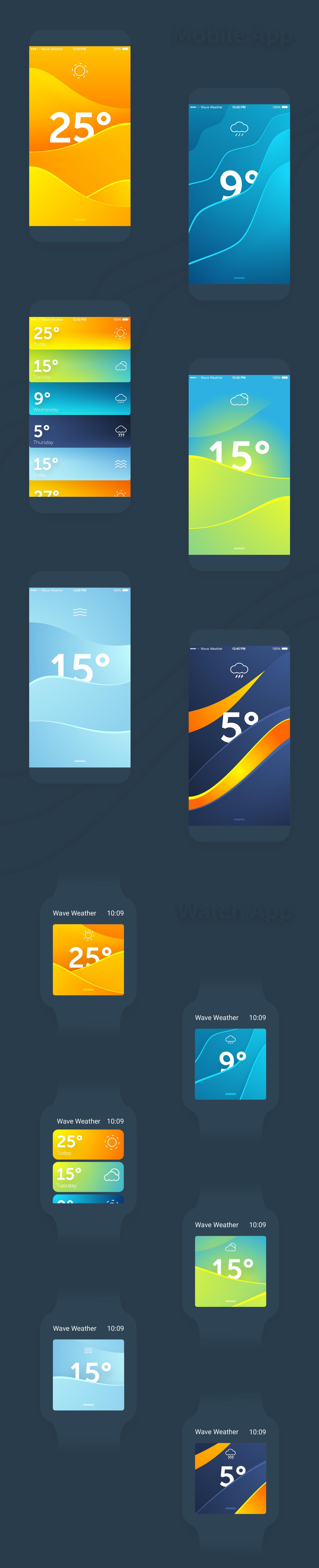 Wave Weather Mobile App & Watch App on Behance