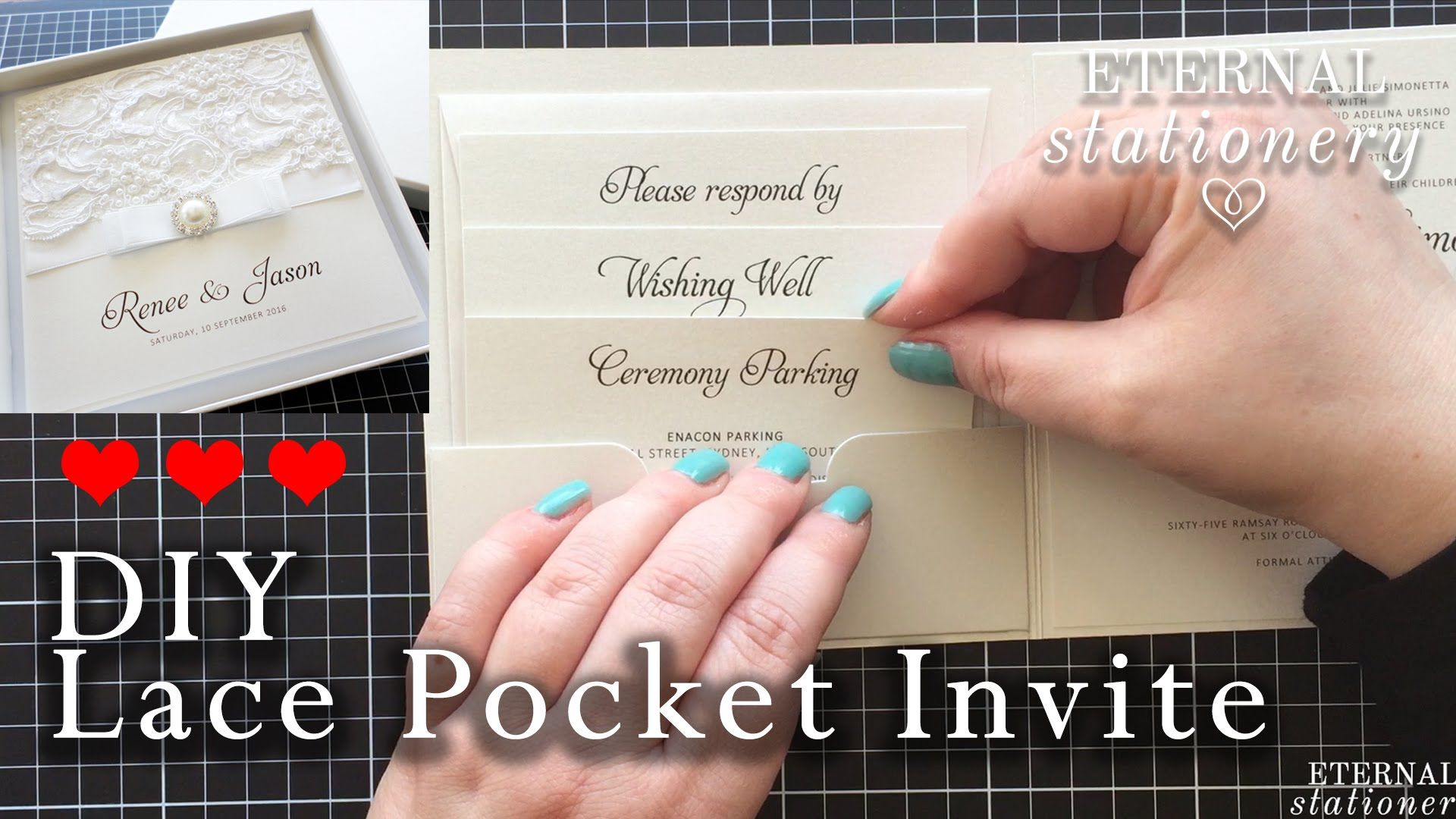 How to make a lace pocket wedding invitation | DIY invitations ...