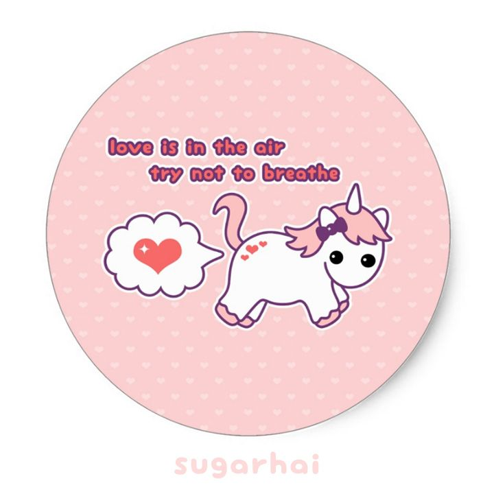 Cute unicorn valentine classic round sticker