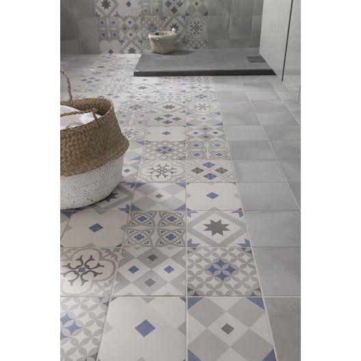 Carrelage sol et mur gris effet ciment gatsby x cm carreaux ciment imitation - Salle de bain carreau de ciment bleu ...