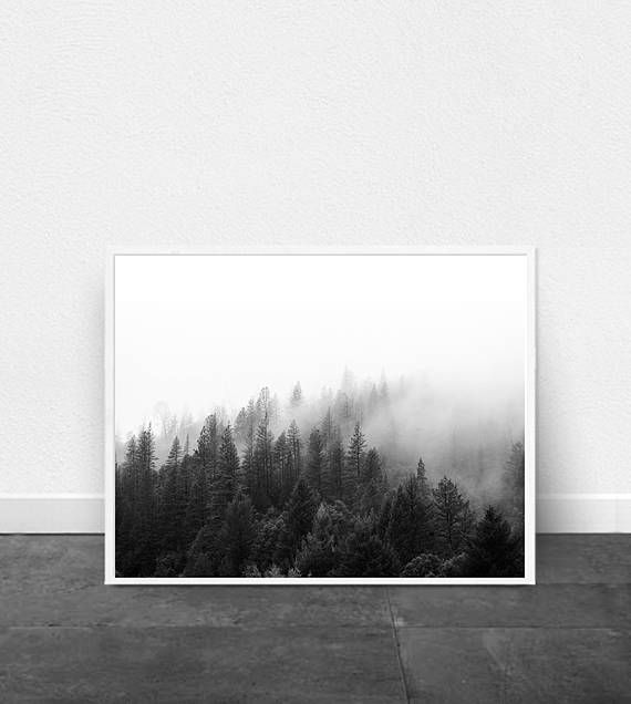 Black and white landscape photo fog forest mountain nordic nature print scandinavian poster minimalist art minimal