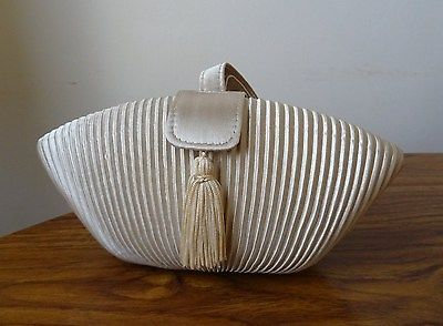 Original-Vintage-1960s-Champagne-Satin-Evening-Bag-Art-Deco-Handbag-Wedding-Prom