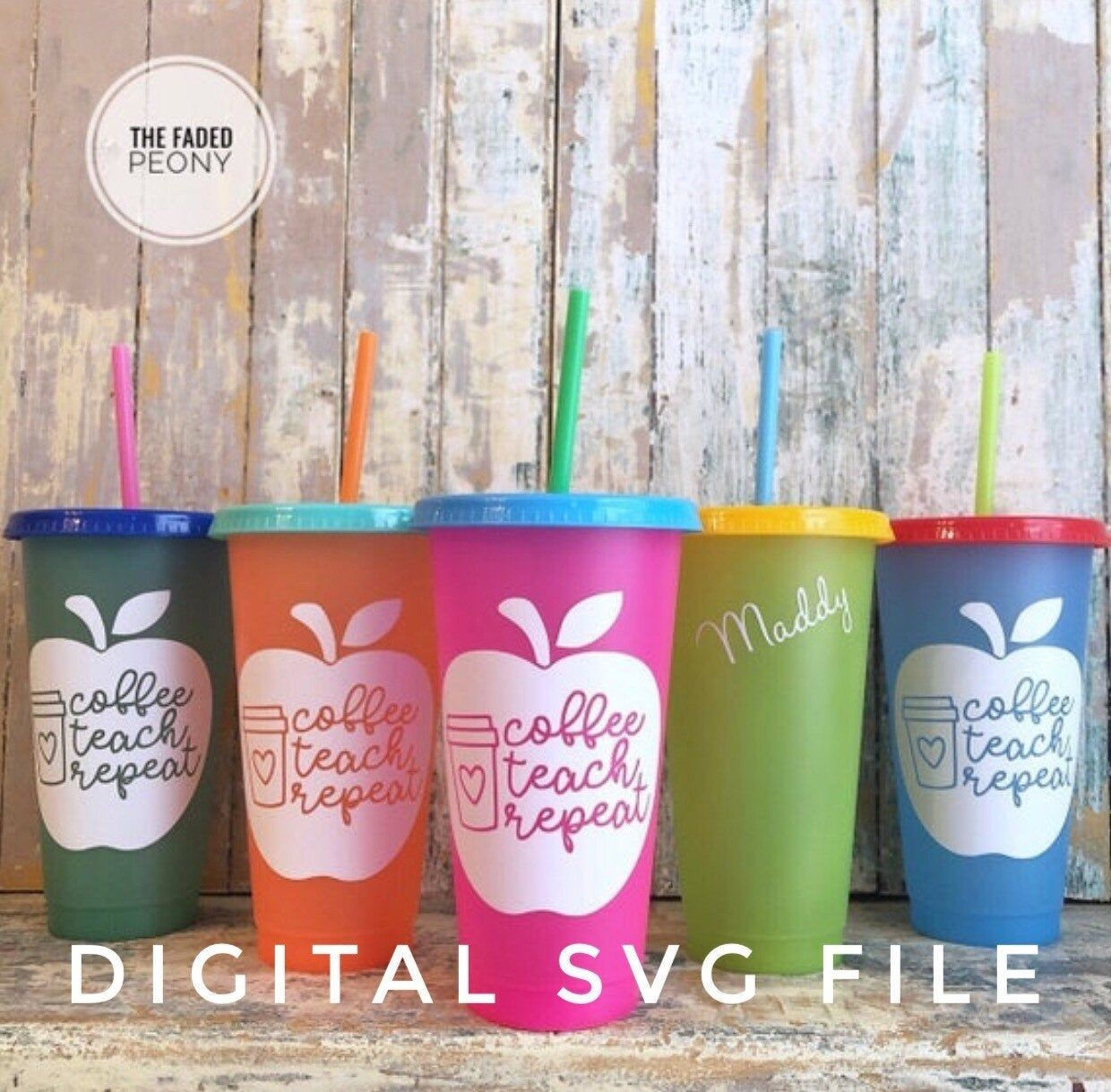 Tumbler Cup With Straw Svg