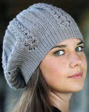 Вязание шапочки спицами женская