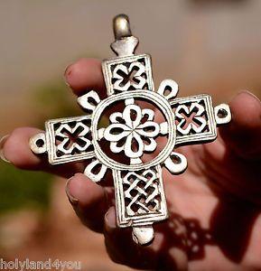 Handmade-Cross-Pendant-Ethiopian-Coptic-Processional-Superb-Large-Silver-800