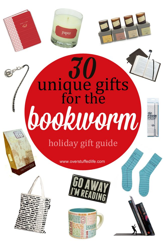 Do you have a book lover on your Christmas gift list? One of these 30 unique  book themed gifts is sure to delight them! #overstuffedlife - 30 Unique Gifts For The Bookworm Bloggers' Fun Family Projects
