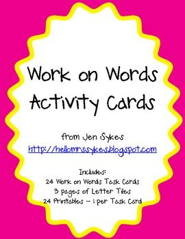 Are you implementing Daily 5/CAFE in your classroom?  Wondering what to have students do during Work on Words?  This packet will save you time.  This packet includes 24 different work on words task cards, 3 pages of letter tiles, and 24 printables (1 per task card) so they can be used as emergency sub plans, whole class/small group activities, etc.