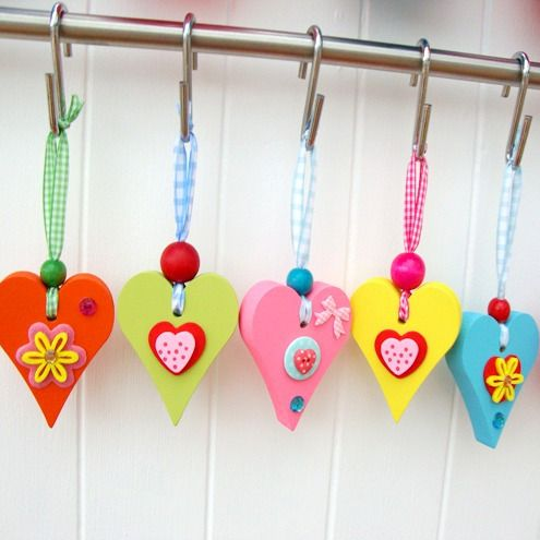 Small Wooden Chunky Heart Valentine Crafts Heart Crafts Heart Decorations