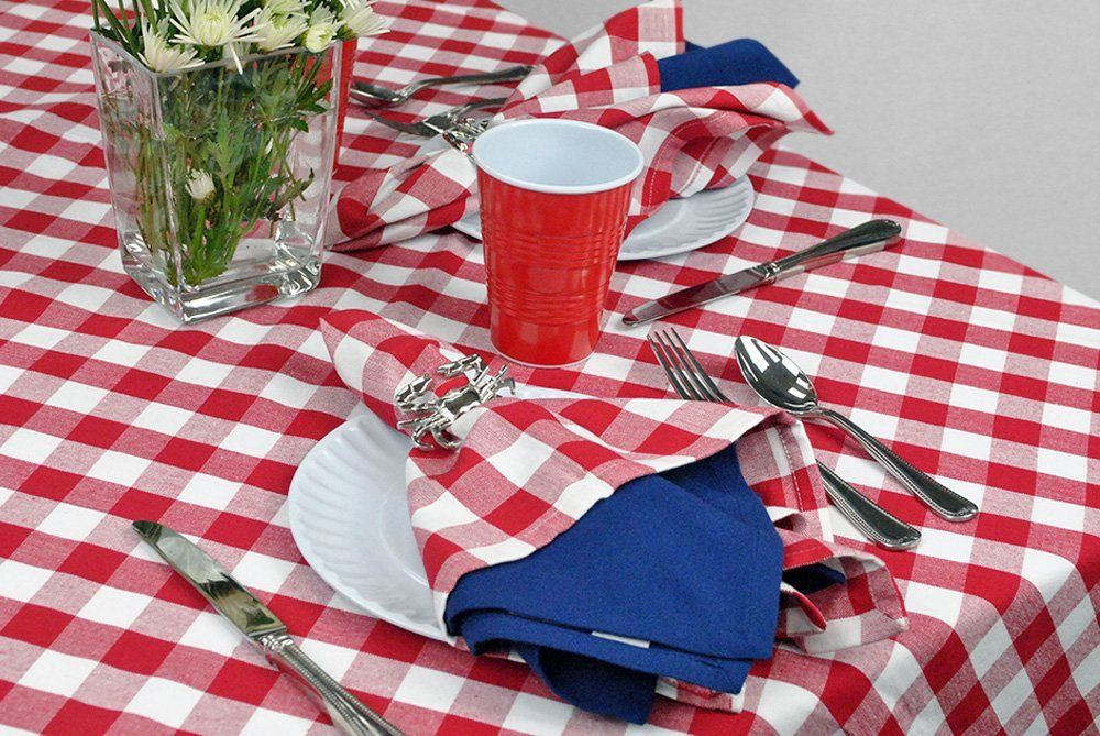 Amazon.com   DII 100% Cotton, Machine Washable Tablecloth Red Check 60 X