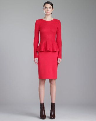 St. John - Shop Online - Fall 2013 First Look - Jewel-Neck Peplum Sweater & Milano Knit Pencil Skirt