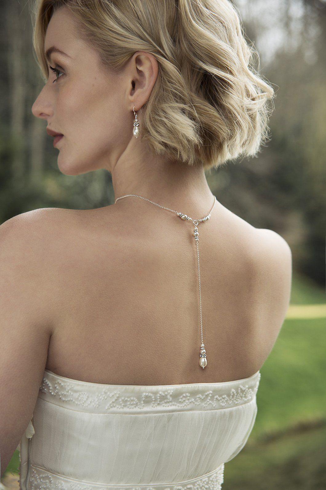 Pearl back drop necklace back drop bridal necklace annika short