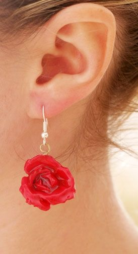 Tiny Red Rose Flower Earrings Covered With Resin Real Flower Jewelry Red Rose Flower Flower Jewellery