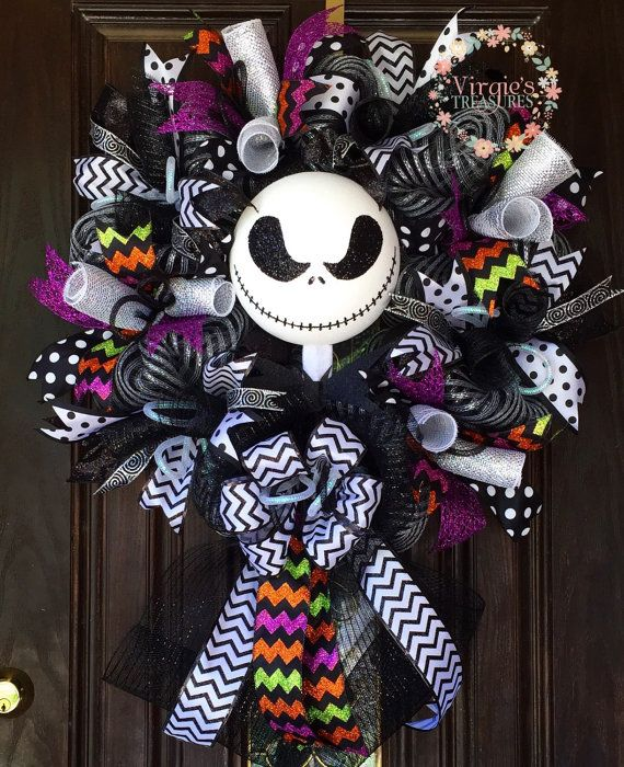 Halloween wreath jack skellington nightmare before - Jack skellington decorations halloween ...