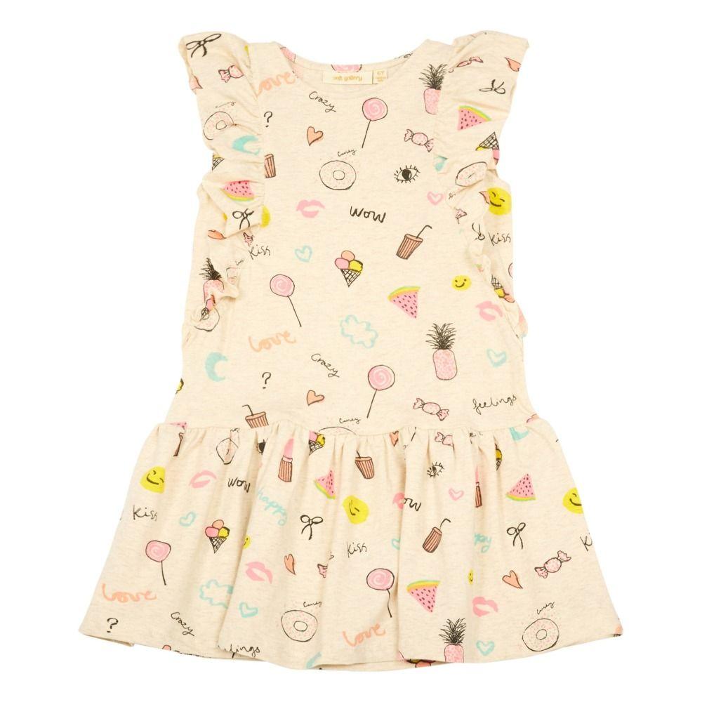 Alberte Ruffled Emoji Dress Heather white  novelty  Pinterest