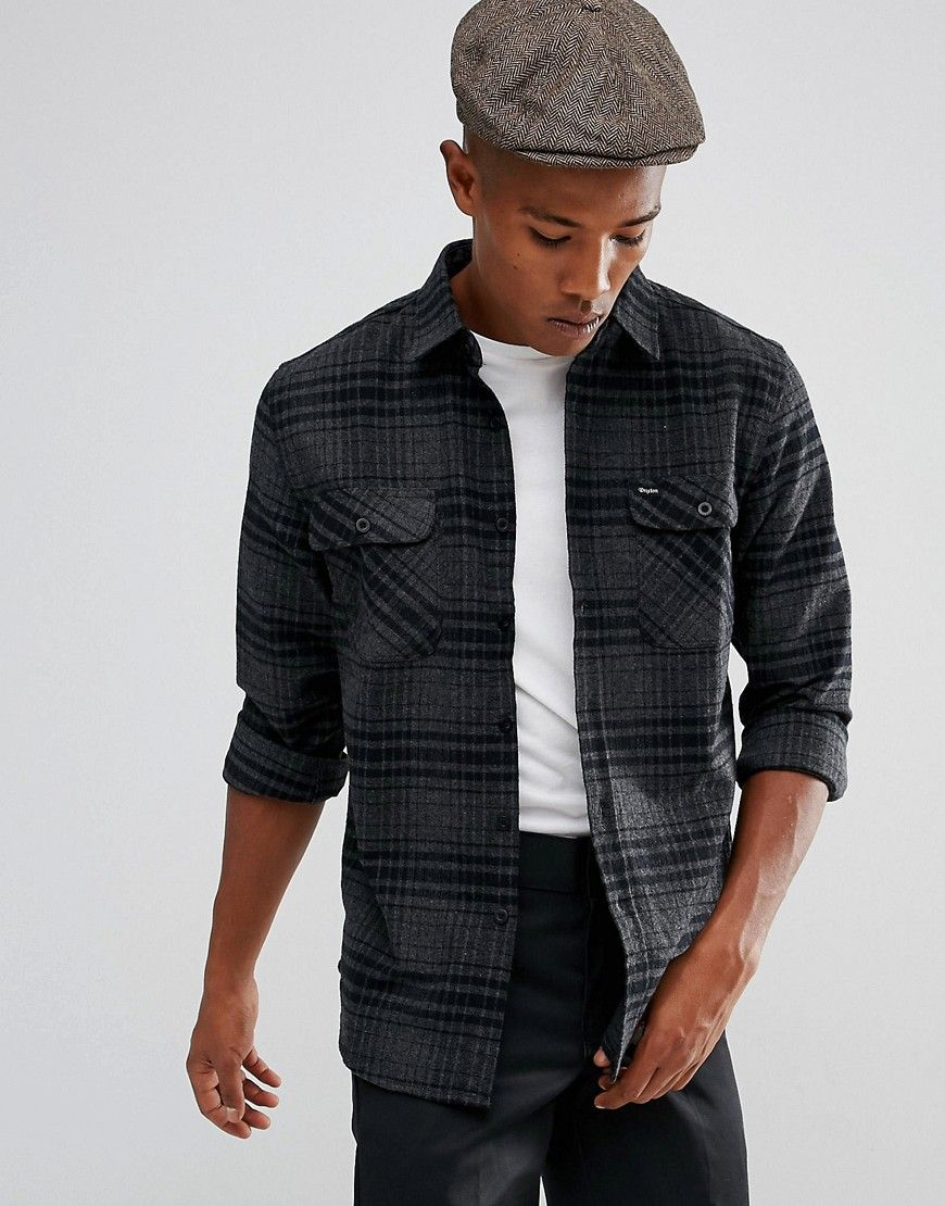 Men's grey flannel trousers  BRIXTON BOWERY FLANNEL CHECK SHIRT IN GRAY  GRAY brixton cloth
