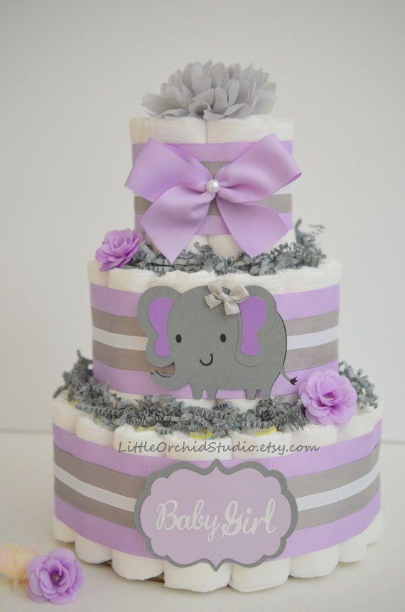 Elephant Diaper Cake Lavender Gray Elephant Baby Shower