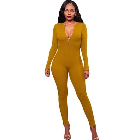 016ce672e184 Winter Rompers and Jumpsuits Women Sexy V-Neck Long Sleeve Backless  Playsuit Bodysuits Elegant Ribbed Knitted Bodycon Jumpsuits