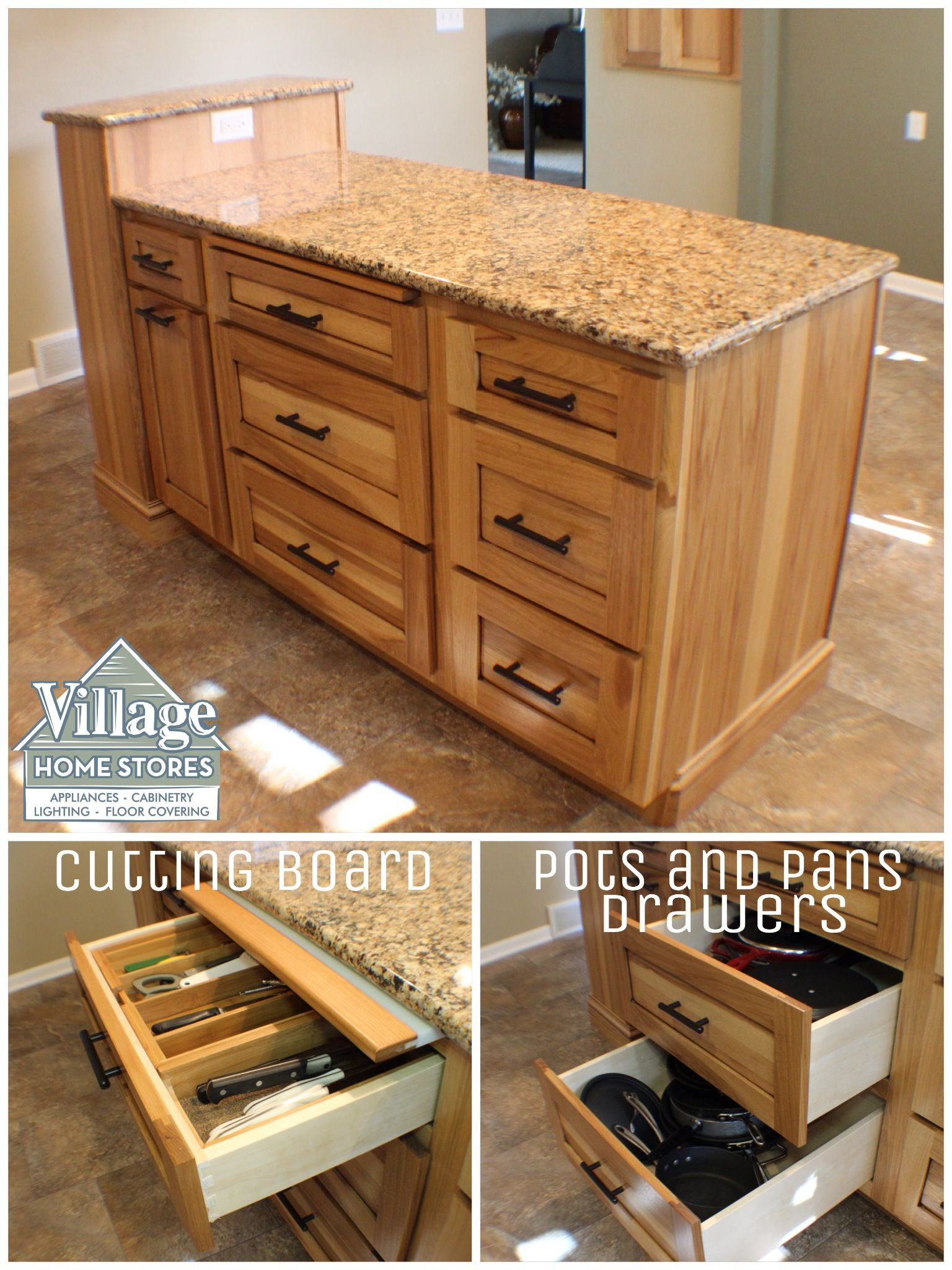 Large drawers for #pots and #pans #storage in this kitchen island ...
