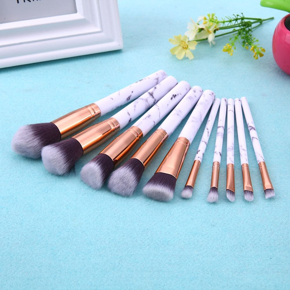 Photo of 10pcs Marble Patten Makeup Brush for Cosmetic Powder Foundation