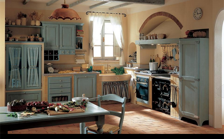 Cucina shabby azzurra rustica arredamento shabby nel for Cucina arredamento