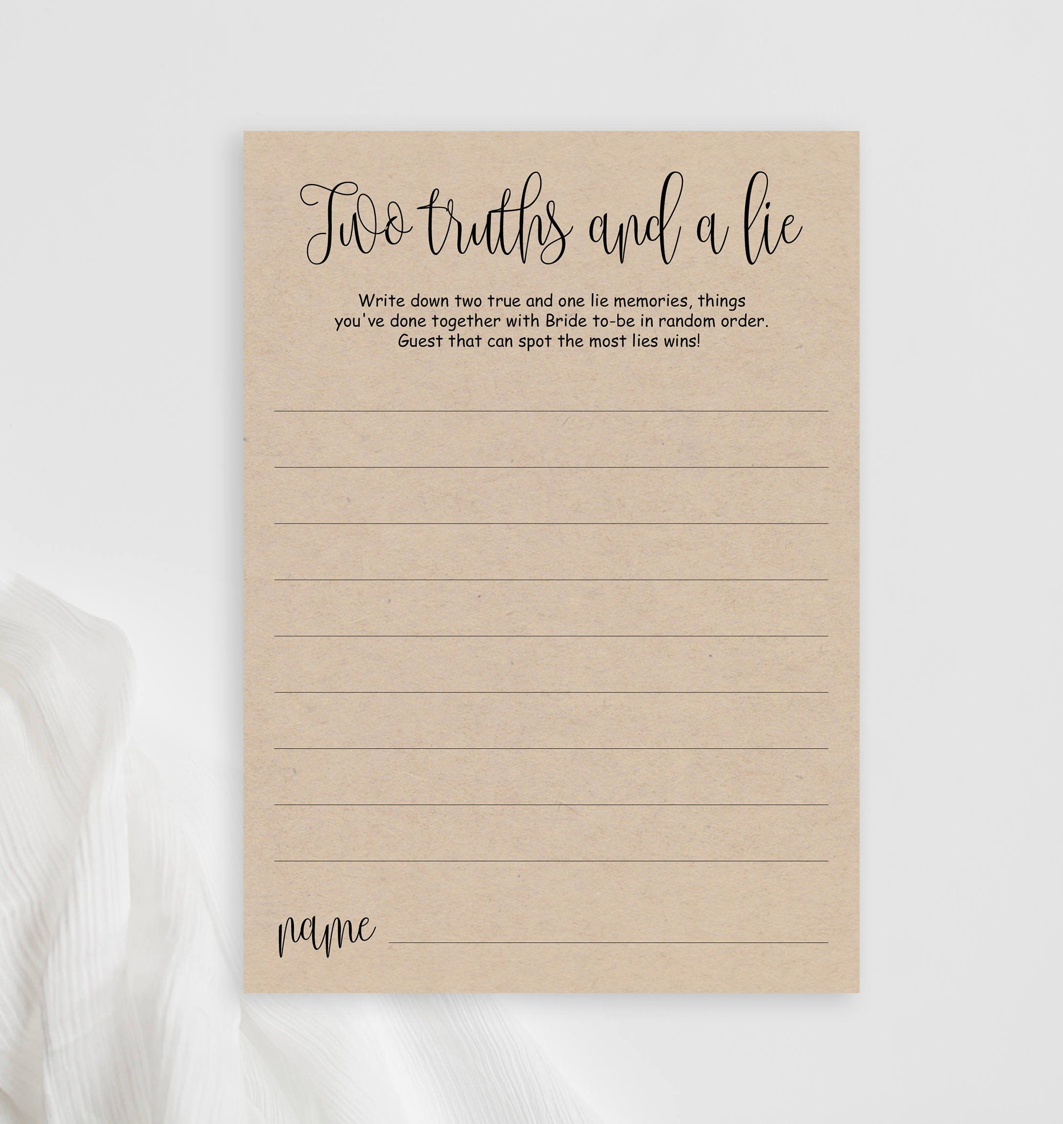 Two Truths And A Lie Bridal Shower Game Card Printable