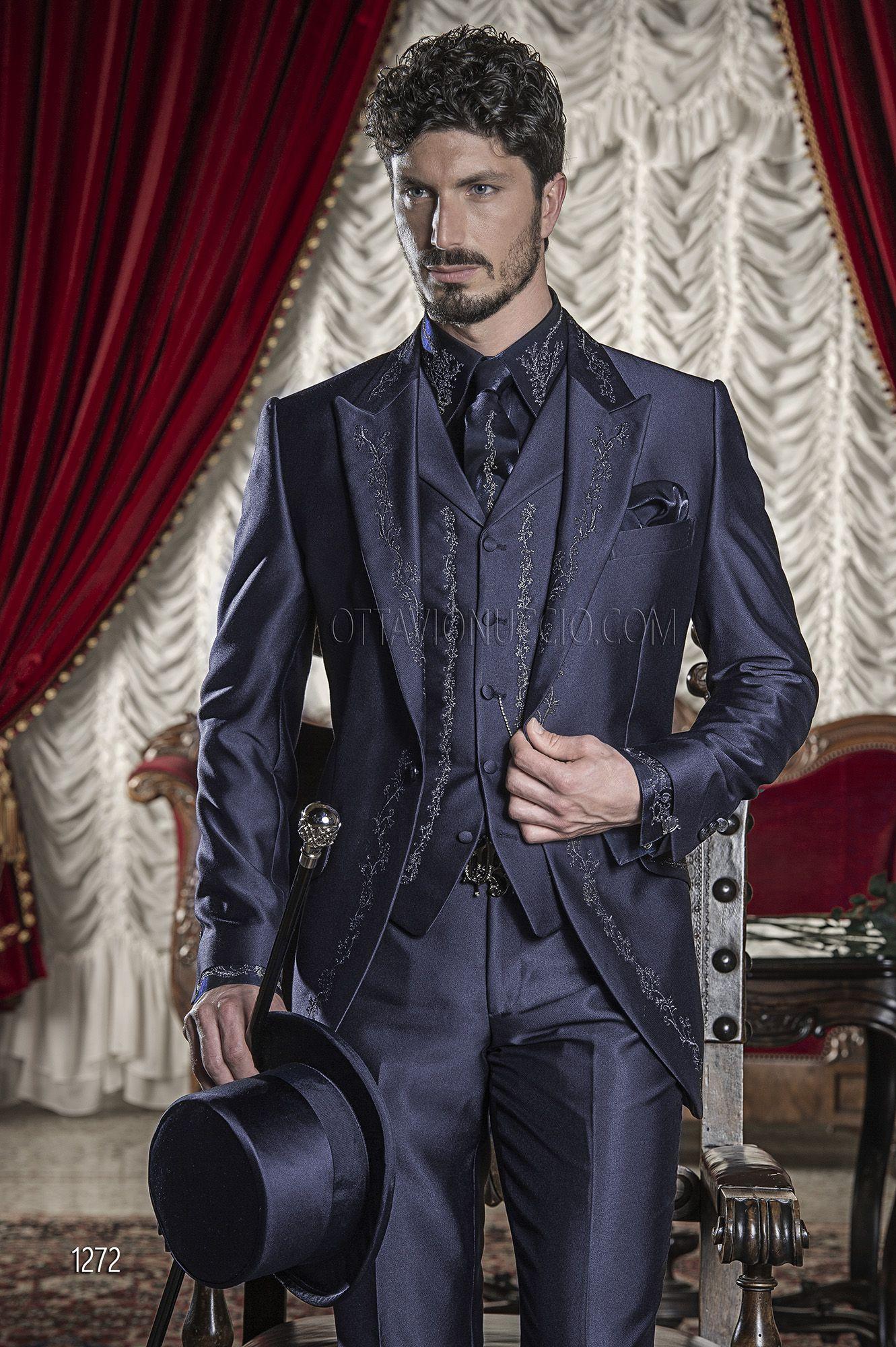 Abito Cerimonia Uomo Blu Scuro : Abito blu da cerimonia uomo con ricamo nero e argento #festive