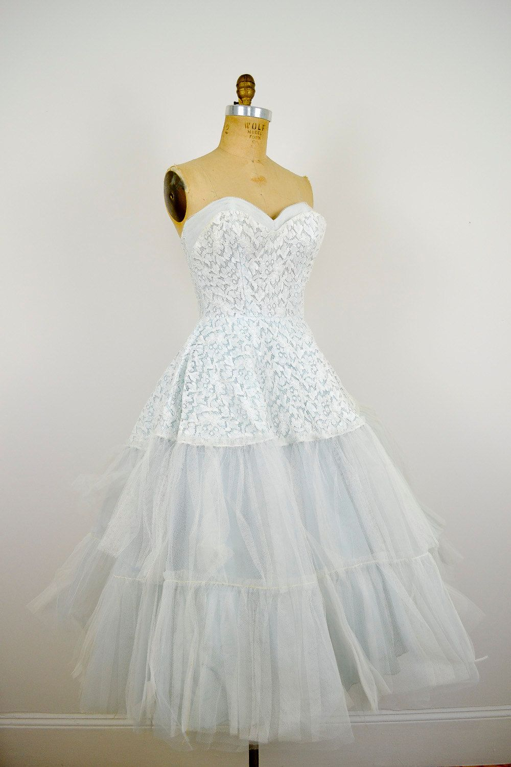 1950s style wedding dresses  pale blue s lace wedding dress   OFFBEAT Wedding GOWNS