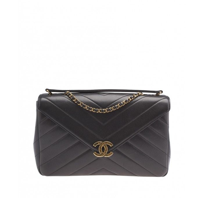 47516d38ff Chanel Coco Envelope Black Quilted & Chevron Leather Shoulder Bag ...