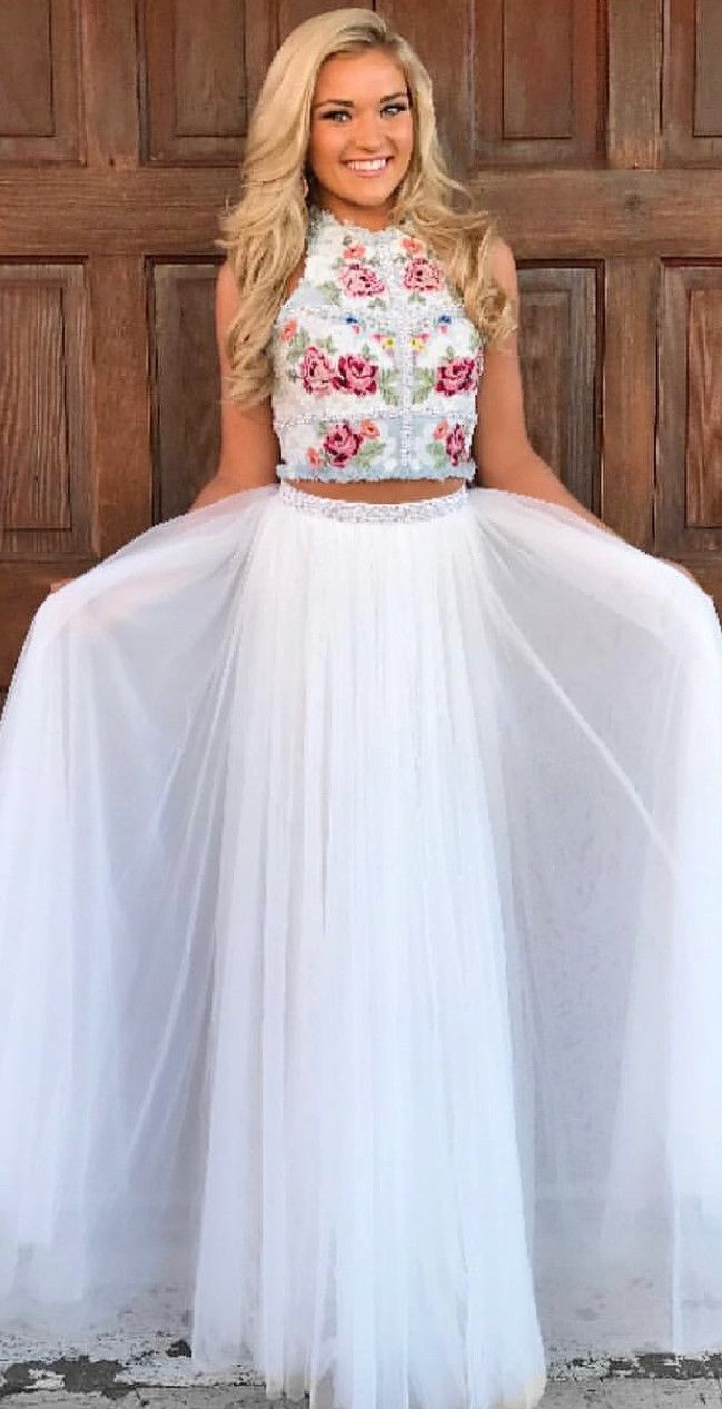 2018 Two Piece White Long Prom Dress With Embroidery Floral Party Dress Beautiful Prom Dresses Cute Formal Dresses Prom Dress Trends [ 1267 x 649 Pixel ]