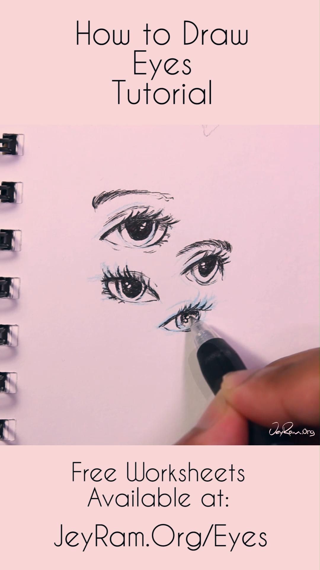 Learn how to draw the eyes using this step by step process made for beginners. Grab the free worksheets on the website and learn how to draw the simple eyes by developing the basic shapes of the eyes and then adding complexity. Drawing human anatomy is immensely satisfying and these free worksheets will help you make quick progress! #tutorial #drawing #draw #howtodraw #anatomy #illustration #art #artist