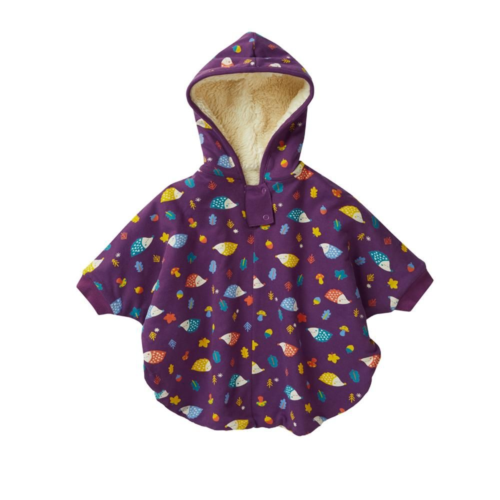 Piccalilly Soft Purple Hedgehog Print Cozy Sherpa Fleece Lined Childrens Poncho Jacket with Hood