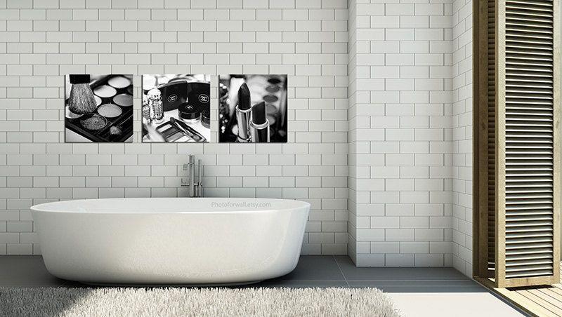 Chanel Bathroom Decor Canvas Art Black And White Makeup