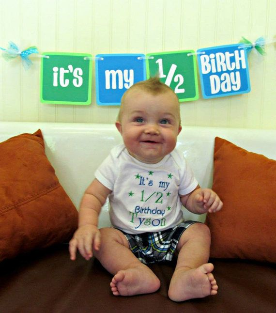 ITS MY 1 2 BIRTHDAY Banner In Blues And Greens For Half Birthday Decoration Photo Prop Session