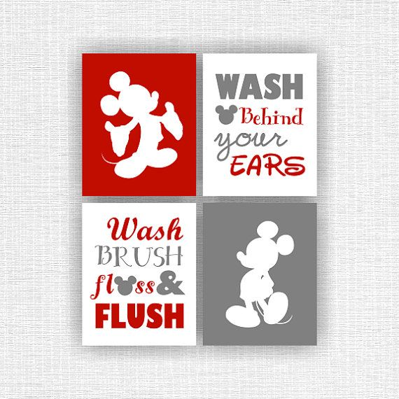Disney Silhouette Mickey Mouse Wall Art Red And Black Mickey Mouse And Quote Bathroom Set Of 4