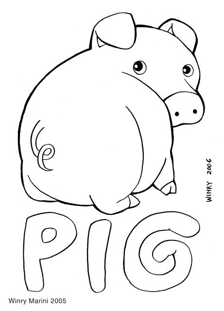 Pig Coloring Page Mewarnai Babi With Images Coloring Pages