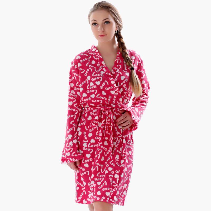 2016 Spring Autumn Ladies Plus Size Soft Fleece Red Robe Love ...