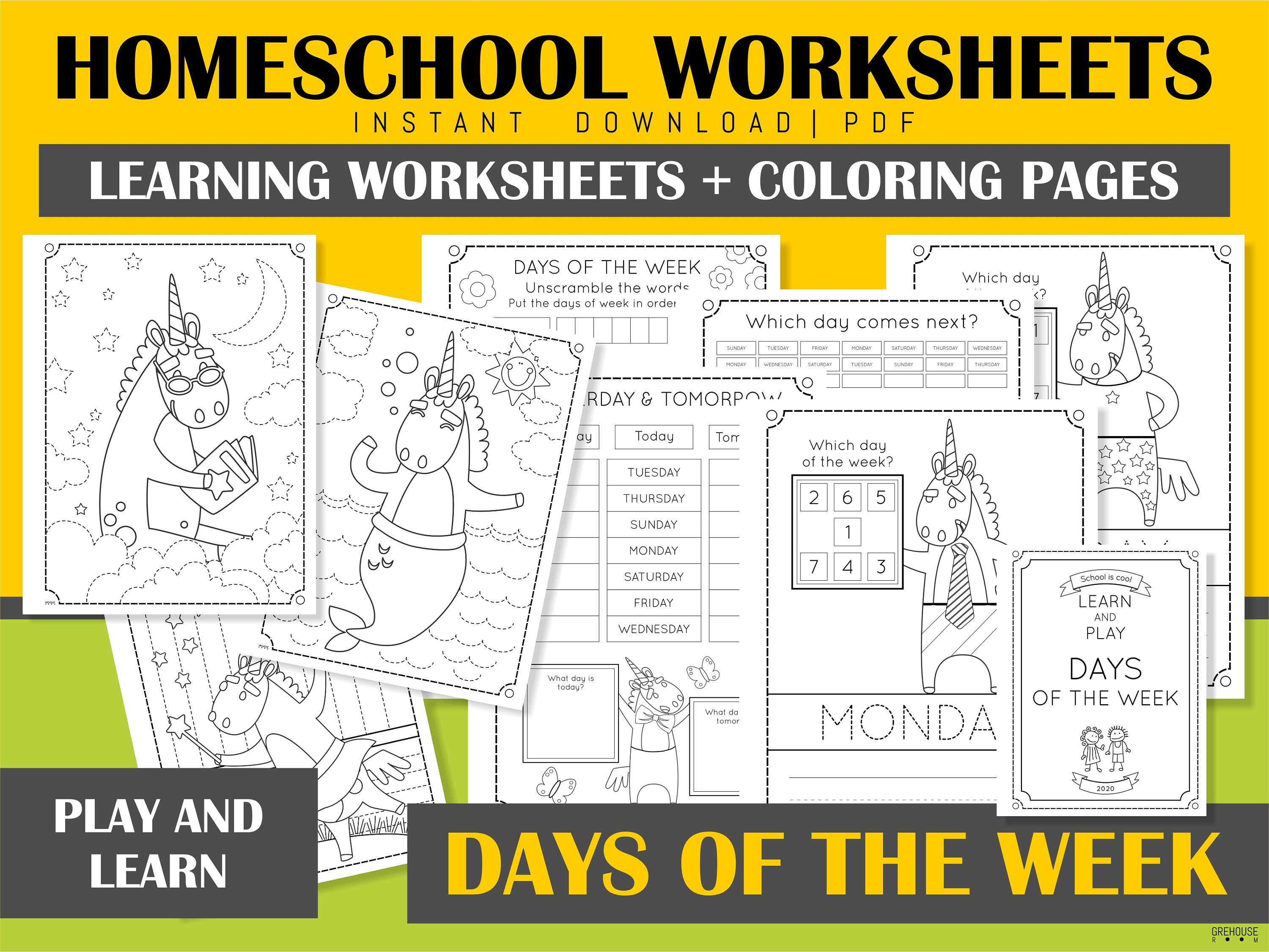 Days Of The Week Printable Homeschool Learning Worksheets