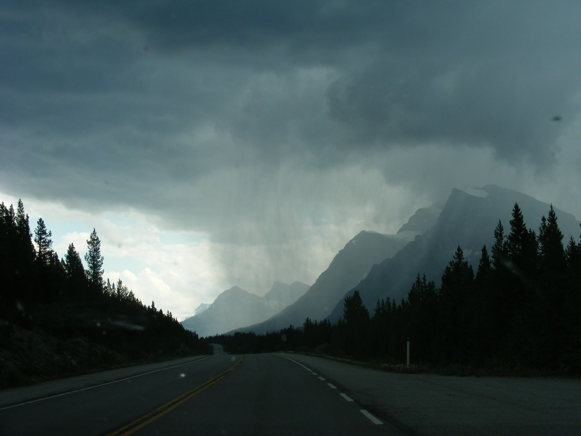 Approaching Banff on Icefields Parkway BC Canada